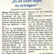Artikel zur Adenauer Schwimmbad-Sanierung